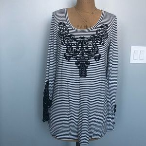 Maurices Scoop Neck Tunic Striped Lace Large